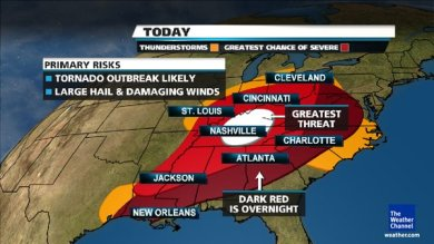 storm warnings over SE U.S. on March 2, 2012